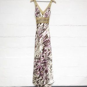 Dave and Johnny Purple and Gold Animal Print Gown